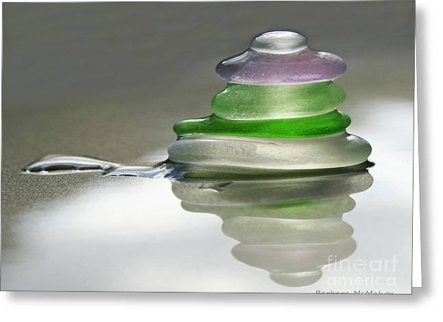 Decorative Glass Art Greeting Cards - Serenity Greeting Card by Barbara McMahon