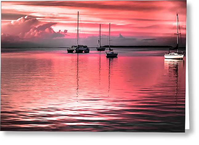 Moored Sailboats Greeting Cards - Serenity Bay Dreams Greeting Card by Karen Wiles