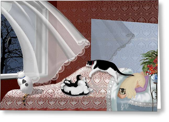 Woman And Owl Greeting Cards - Serenity Blanket Greeting Card by Michelle Guillot