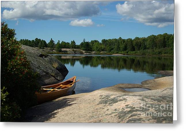 Canoe Photographs Greeting Cards - Serenity Greeting Card by Dale Wagler