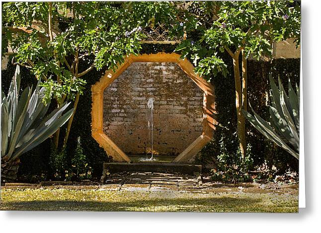 Historic Home Greeting Cards - Serenity Fountain DB Greeting Card by Rich Franco