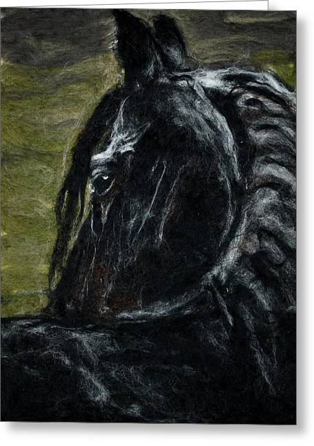 Needle Tapestries - Textiles Greeting Cards - Serenity Horse Greeting Card by Kyla Corbett