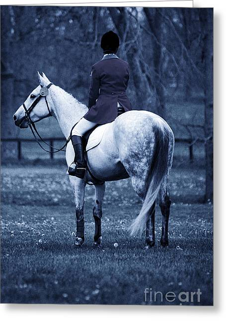 Kentucky Horse Park Digital Art Greeting Cards - Serenity I - Blue Greeting Card by J M Lister