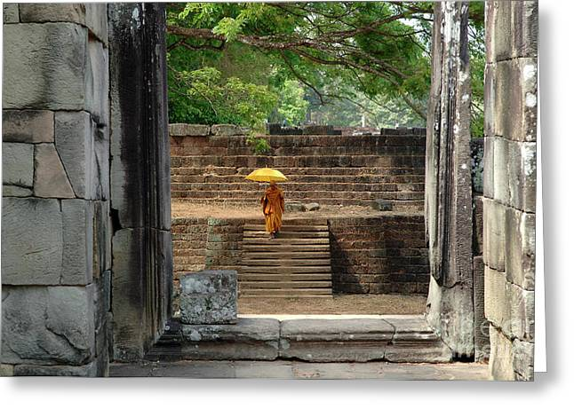 Traveling In Cambodia Greeting Cards - Serenity In Cambodia Greeting Card by Bob Christopher