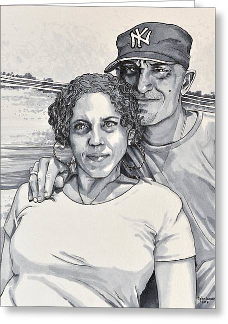 Grayscale Drawings Greeting Cards - Serenity In Determination Greeting Card by Tyler Auman