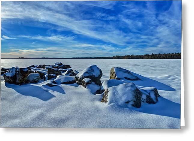 New England Snow Scene Greeting Cards - Serenity in Snow Greeting Card by Bill Caldwell -        ABeautifulSky Photography