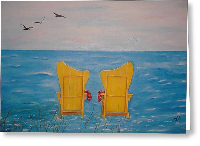 Lounge Paintings Greeting Cards - Serenity Greeting Card by Judy Jones