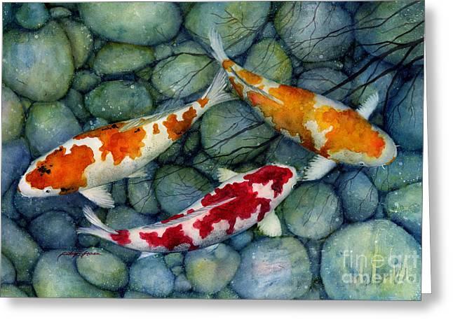 Koi Pond Greeting Cards - Serenity Koi Greeting Card by Hailey E Herrera