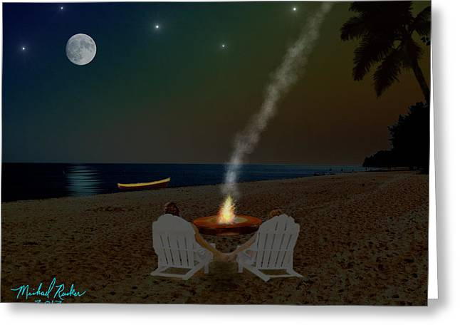 Beach At Night Digital Art Greeting Cards - Serenity on the Beach Greeting Card by Michael Rucker