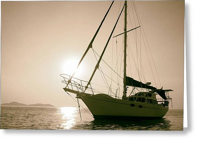Sailboat Photos Greeting Cards - Serenity on Water Greeting Card by Mountain Dreams
