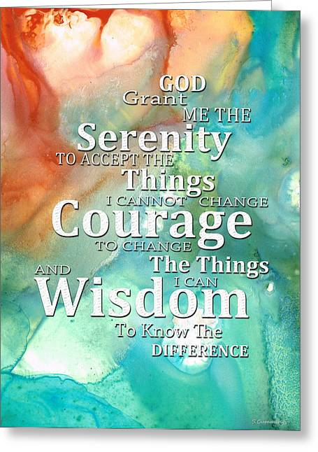 Buy Art Prints Greeting Cards - Serenity Prayer 1 - By Sharon Cummings Greeting Card by Sharon Cummings