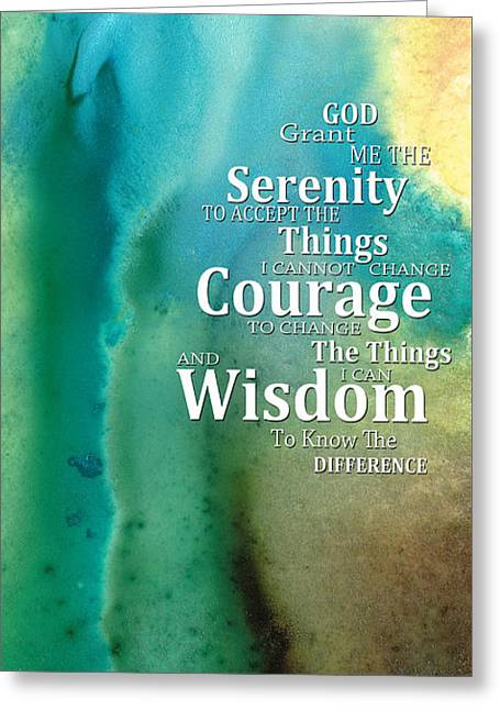 Buy Art Prints Greeting Cards - Serenity Prayer 2 - By Sharon Cummings Greeting Card by Sharon Cummings
