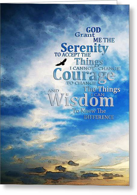 Inspirational Prayers Greeting Cards - Serenity Prayer 3 - By Sharon Cummings Greeting Card by Sharon Cummings