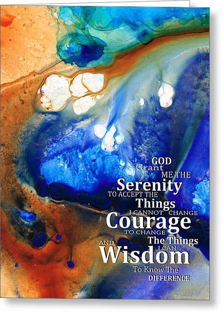 Alcoholic Greeting Cards - Serenity Prayer 4 - By Sharon Cummings Greeting Card by Sharon Cummings