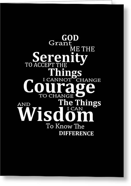 Buy Art Prints Greeting Cards - Serenity Prayer 5 - Simple Black And White Greeting Card by Sharon Cummings