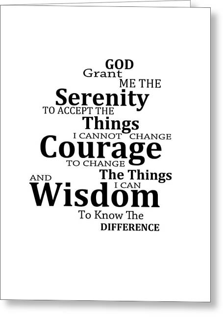 Buy Art Prints Greeting Cards - Serenity Prayer 6 - Simple Black And White Greeting Card by Sharon Cummings