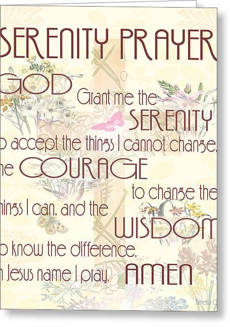 Serenity Prayer Mixed Media Greeting Cards - Serenity Prayer Greeting Card by Amelia Carrie