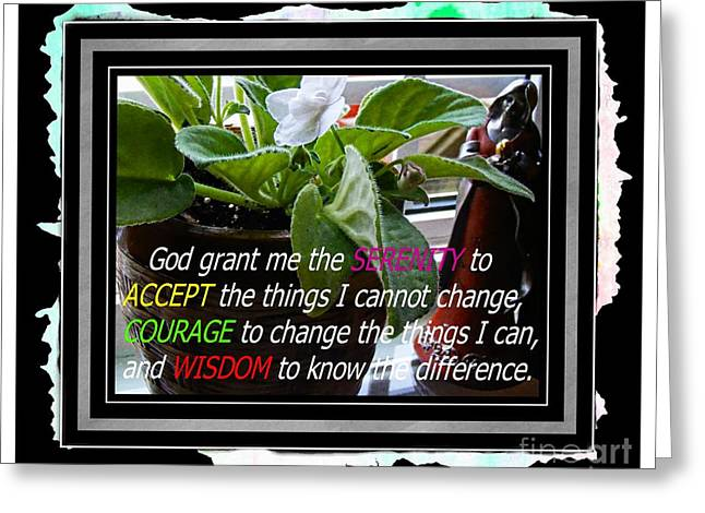 Praying To God Greeting Cards - Serenity Prayer and Angel Greeting Card by Barbara Griffin