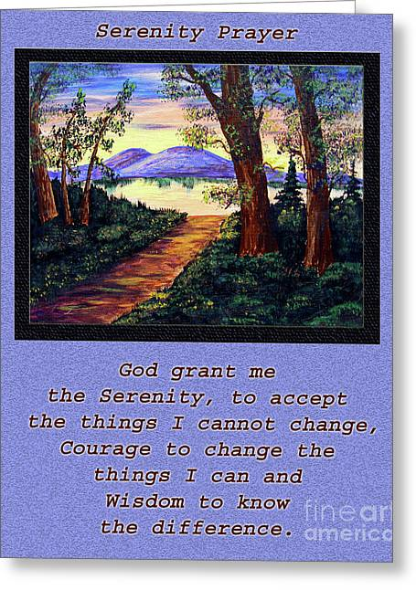 Serenity Prayer Mixed Media Greeting Cards - Serenity Prayer and Favorite Fishing Spot Greeting Card by Barbara Griffin