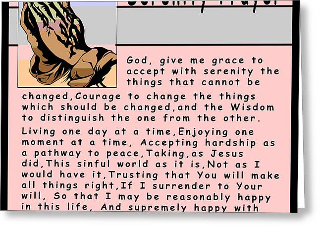 Religious Art Digital Art Greeting Cards - Serenity Prayer Greeting Card by Barbara Snyder