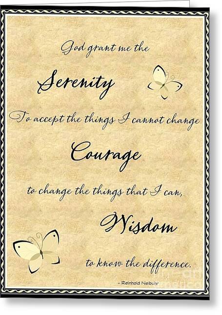 Serenity Prayer Mixed Media Greeting Cards - Serenity Prayer  Greeting Card by Bobbee Rickard
