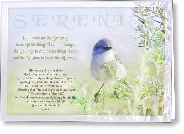 Spiritual Animal Greeting Cards - Serenity Prayer Greeting Card by Holly Kempe