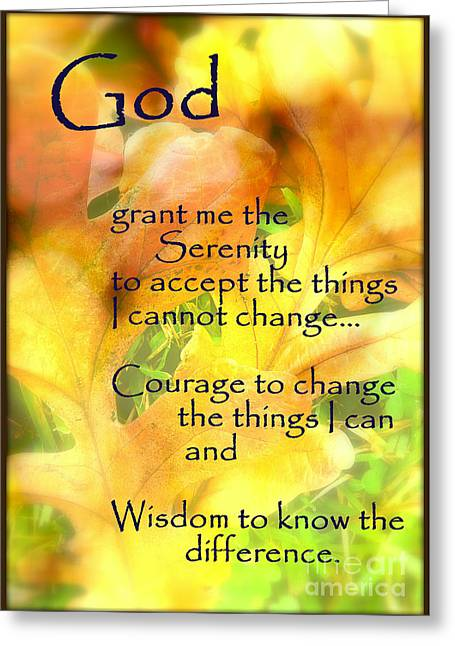 Religious ist Mixed Media Greeting Cards - Serenity Prayer in Golden Leaves Greeting Card by Ella Kaye Dickey