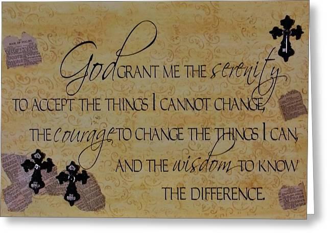 Serenity Prayer Mixed Media Greeting Cards - Serenity Prayer mixed media Greeting Card by Cindy Micklos