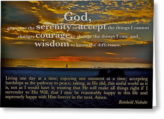 Reinhold Niebuhr Greeting Cards - The Serenity Prayer Greeting Card by Mark Behrens