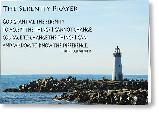 Santa Cruz Lighthouse Greeting Cards - Serenity Prayer Santa Cruz Lighthouse Greeting Card by Barbara Snyder