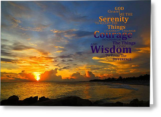 Aa Greeting Cards - Serenity Prayer Sunset By Sharon Cummings Greeting Card by Sharon Cummings