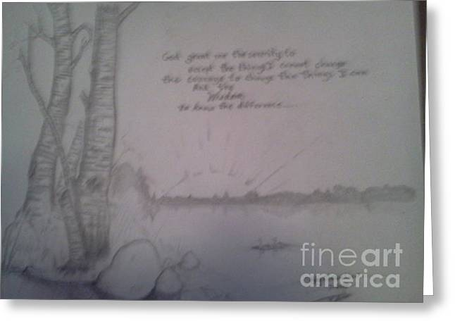 Chevalier Drawings Greeting Cards - Serenity Prayer Greeting Card by Troy Chevalier