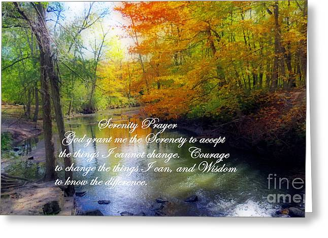 Purchase Greeting Cards - Serenity Prayer With Beautiful Autumn Scene Greeting Card by Kay Novy
