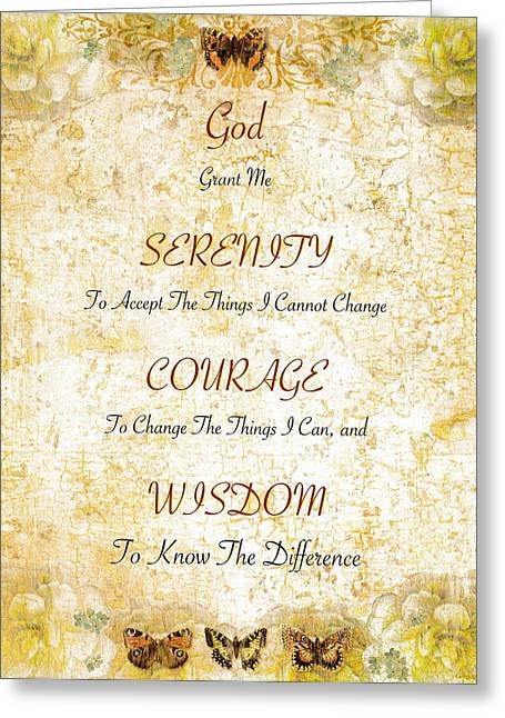 Courage Paintings Greeting Cards - Serenity Prayer with Flowers and Butterflies Greeting Card by Desiderata Gallery