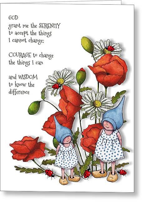 Serenity Prayer Mixed Media Greeting Cards - Serenity Prayer with Flowers and Gnomes Greeting Card by Joyce Geleynse