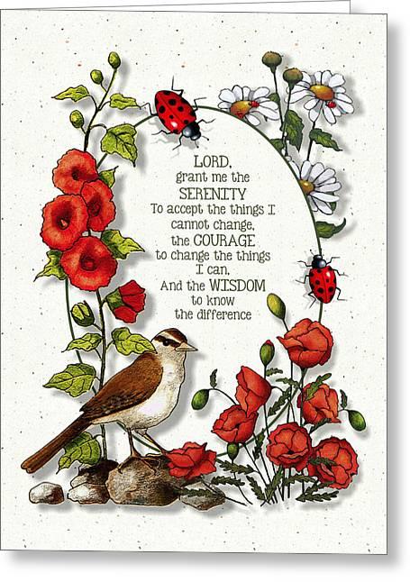 Serenity Prayer Mixed Media Greeting Cards - Serenity Prayer with Flowers Greeting Card by Joyce Geleynse