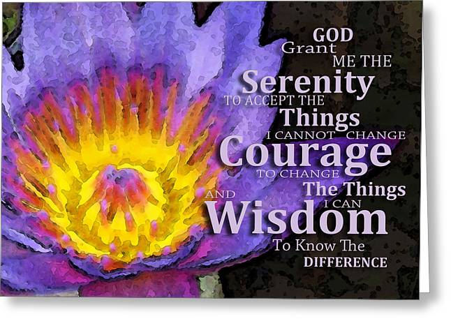 Sunset Prints Greeting Cards - Serenity Prayer With Lotus Flower By Sharon Cummings Greeting Card by Sharon Cummings