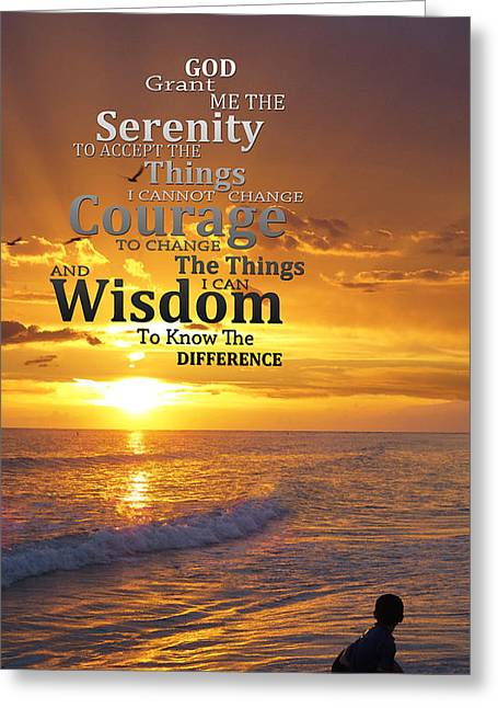 Serenity Prayer With Sunset By Sharon Cummings Greeting Card by Sharon Cummings