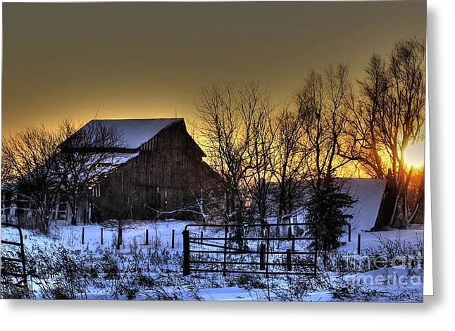 Snow On Barn Greeting Cards - Serenity Greeting Card by Thomas Danilovich