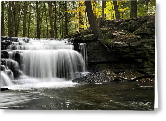 Beautiful Creek Greeting Cards - Serenity Waterfalls Landscape Greeting Card by Christina Rollo