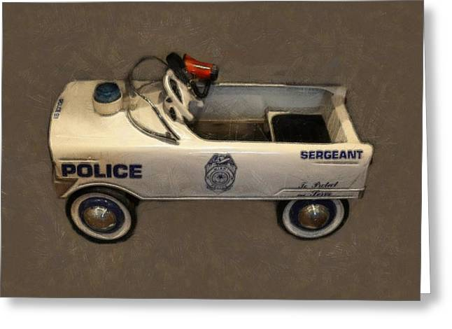 Sergeant Pedal Car Greeting Card by Michelle Calkins