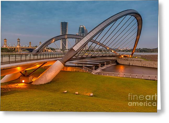 Footbridge Greeting Cards - Seri Empangan Bridge Greeting Card by Adrian Evans