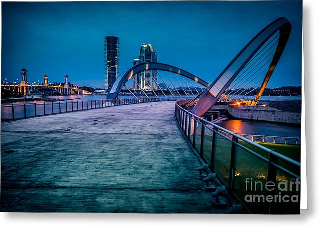 Blue Hour Greeting Cards - Seri Gemilang Bridge 1 Greeting Card by Adrian Evans
