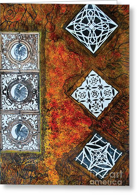 Indian Ink Mixed Media Greeting Cards - Serie Lissette V Greeting Card by Chary Castro-Marin