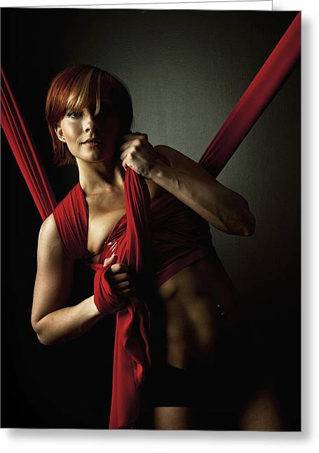 Empowering Greeting Cards - Series in Red Silk Knot Greeting Card by Monte Arnold