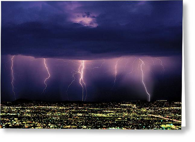 Series Of Cloud-to-ground Lightning Greeting Card by Thomas Wiewandt