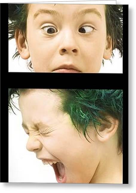 Hair Dye Greeting Cards - Series Of Portraits Of Boy With Green Greeting Card by Chris and Kate Knorr