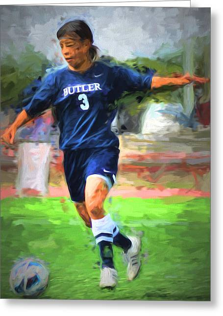White River Greeting Cards - Serina Kashimoto Butler University Futbol Soccer Digitally Painted Greeting Card by David Haskett