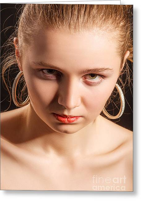 Displeased Greeting Cards - Serious Angry Girl Greeting Card by Aleksey Tugolukov