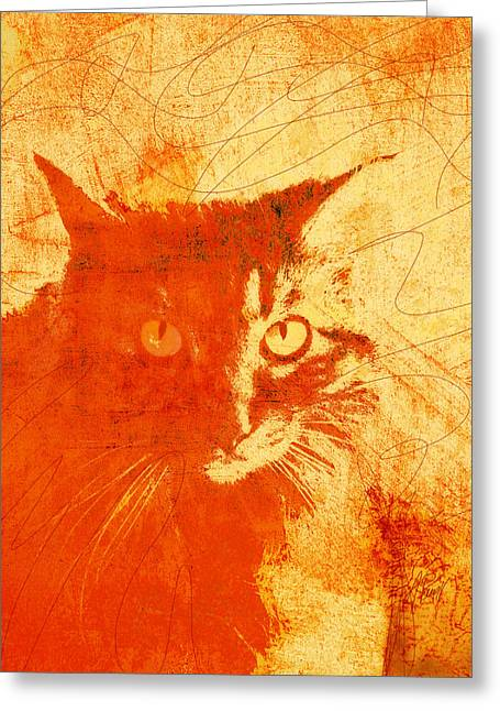 Abstract Cat Greeting Cards - Serious Mister Slim Greeting Card by Ann Powell